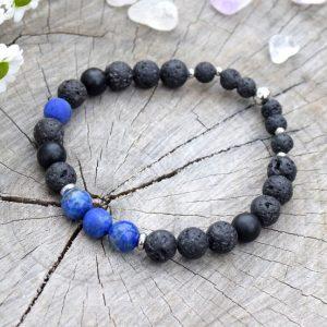 ~MÍR~ Pánský náramek z lapisu lazuli, lávového kamene a onyxu