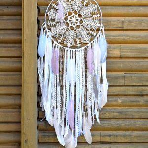 ~NĚŽNOST~ Ručně vyráběný krajkový lapač snů s jaspisem, průměr 35 cm