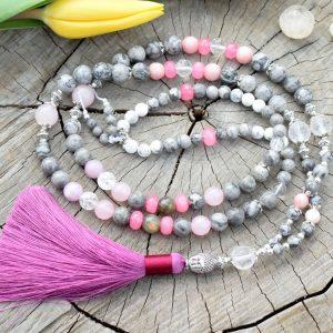 ~VNITŘNÍ JÁ~ Luxusní modlitební korále mála z jaspisu a jadeitu, 108 korálků