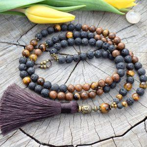 ~SÍLA (ZE)MĚ~ Modlitební korále mála z lávového kamene, tygřího oka a dřeva, 108 korálků