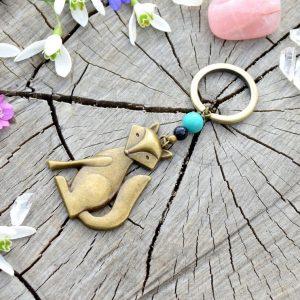 ~INSPIRACE~ Kovový přívěsek na klíče liška s tyrkysem a avanturínem