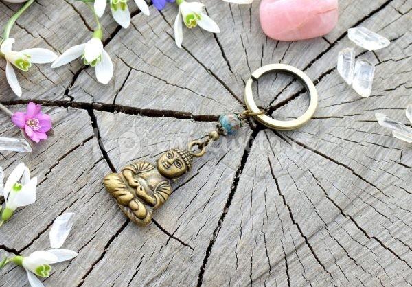 ~PŘÍRODA~ Originální přívěsek na klíče Buddha s chryzokolem