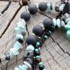 ~NADĚJE~ Dlouhý minerální náhrdelník s drúzou achátu, larimarem, amazonitem a křemenem