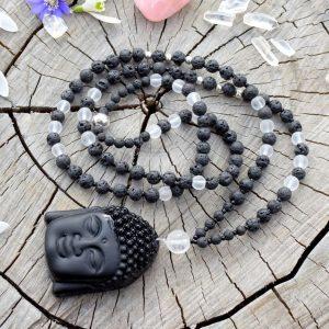 ~SÍLA~ Náhrdelník z lávového kamene a křišťálu, přívěsek Buddha z obsidiánu