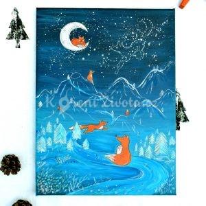 Autorská malba *SPOLU NA ZEMI I VE VESMÍRU*, formát 30x40 cm, akryl na plátně