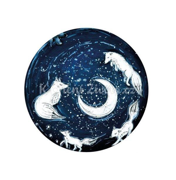 Vesmírný kulatý plakát *A PŘECE SE TOČÍ*, autorská ilustrace, průměr 29 cm