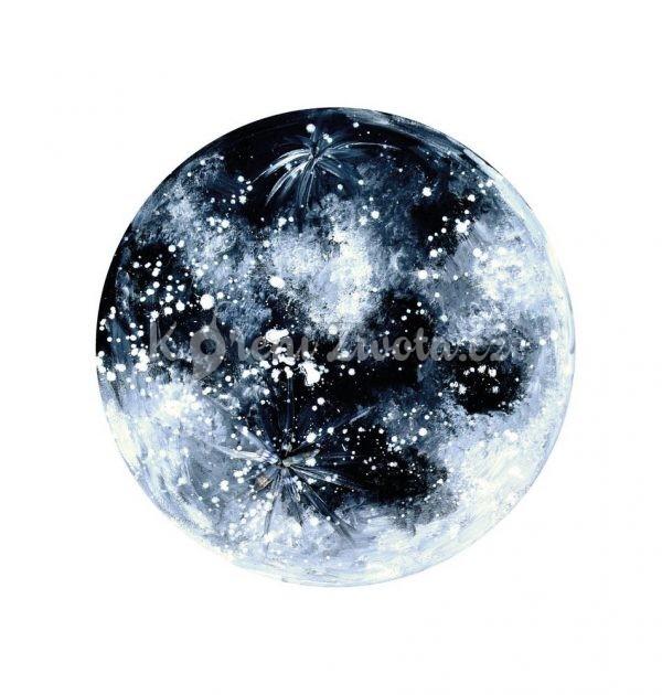 Vesmírný kulatý plakát *MĚSÍČNÍ SVIT*, autorská ilustrace, průměr 29 cm