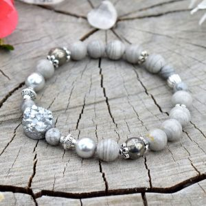 ~TIŠE~ Luxusní náramek s drúzou, jaspis, pyrit a lasturové perly