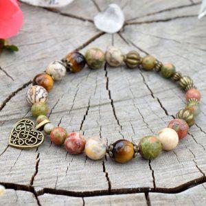 ~(POD)VĚDOMÍ~ Bodhi náramek z unakitu, jaspisu a tygřího oka, přívěsek srdce