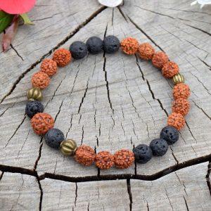 ~(ZE)MĚ~ Pánský náramek Rudraksha s lávovými kameny