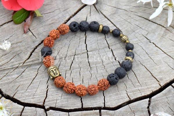 ~(ZE)MĚ~ Pánský náramek Rudraksha s lávovými kameny a Buddhou
