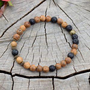 ~(ZE)MĚ~ Pánský náramek z lávových kamenů a dřeva wenge
