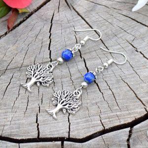 ~MÍR~ Visací náušnice strom života s lapisem lazuli