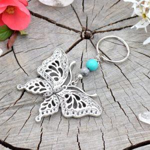 ~(VE)SMÍR~ Originální přívěsek na klíče motýl s tyrkysem a jaspisem
