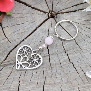 ~ČISTOTA~ Originální přívěsek na klíče srdce s růženínem a křišťálem