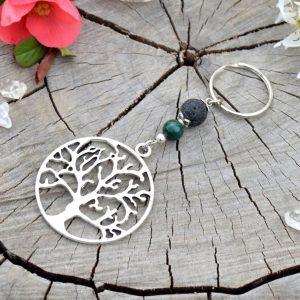 ~VYROVNANOST~ Originální přívěsek na klíče strom života s malachitem a lávou