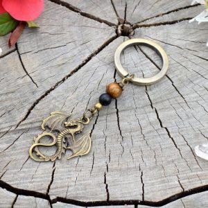 ~SÍLA (ZE)MĚ~ Originální přívěsek na klíče drak s tygřím okem a onyxem