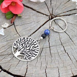 ~MÍR~ Originální přívěsek na klíče strom života s lapisem a lávy