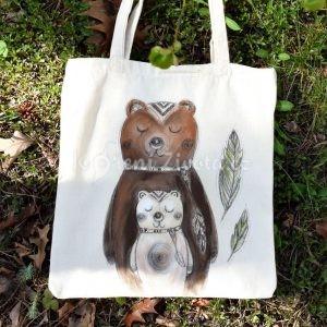 Barevná ručně malovaná plátěná taška *MEDVĚDÍ LÁSKA*, 38x42 cm