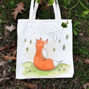 Barevná ručně malovaná plátěná taška *NA MĚSÍC*, 38x42 cm