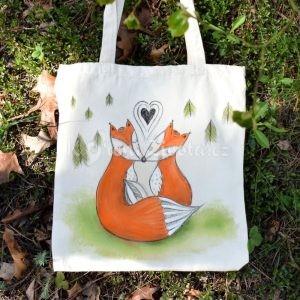 Barevná ručně malovaná plátěná taška *MY DVA*, 38x42 cm