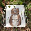 Barevný ručně malovaný batůžkový vak na záda *MEDVĚDÍ LÁSKA*, 34x40 cm