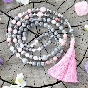 ~VNITŘNÍ JÁ~ Luxusní modlitební korále mála z jaspisu a opálu, 108 korálků