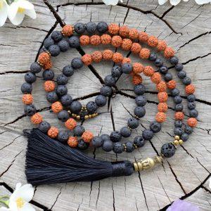 ~(ZE)MĚ~ Modlitební korále mála Rudraksha s lávovým kamenem, 108 korálků