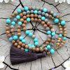 ~PŘÍRODA~ Modlitební korále mála ze dřeva, chryzokolu a tyrkysu, 108 korálků