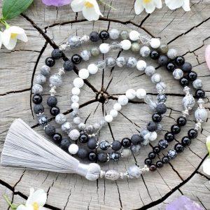 ~TRPĚLIVOST~ Modlitební korále mála z černého onyxu, jaspisu a lávy, 108 korálků