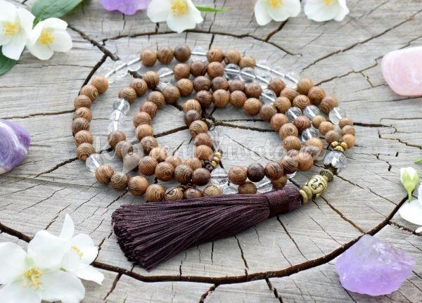 ~STVOŘENÍ~ Modlitební korále mála ze dřeva wenge a křišťálu, 108 korálků