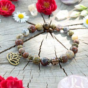 ~CESTA~ Minerální náramek z jaspisu, afrického opálu a záhnědy, lotosový květ