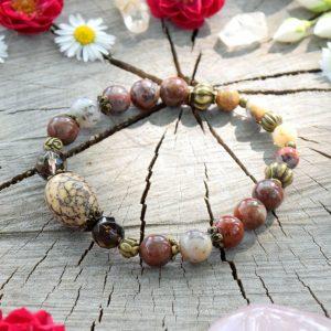 ~CESTA~ Minerální náramek z jaspisu, afrického opálu a záhnědy, Bodhi korálek