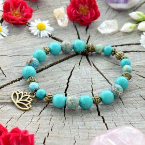 ~INSPIRACE~ Minerální náramek z tyrkysu a regalitu, přívěsek lotosový květ