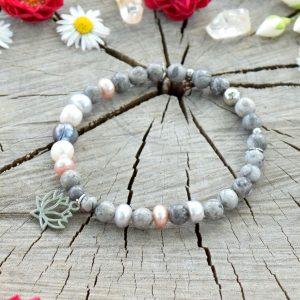 ~NĚHA~ Luxusní minerální náramek z chirurgické oceli, jaspis a perly, lotos