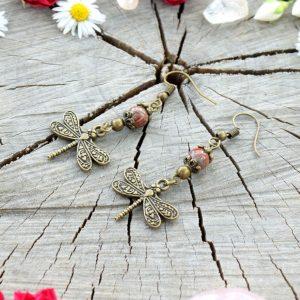 ~CESTA~ Visací náušnice vážky s brekciovým jaspisem