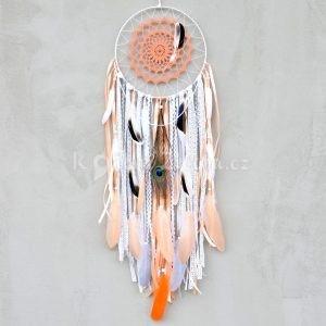 ~SNĚNÍ~ Jedinečný ručně vyráběný lapač snů s pírky a labradoritem, 25x90 cm