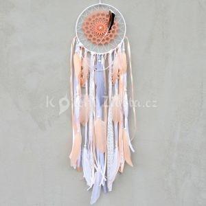 ~SNĚNÍ~ Jedinečný ručně vyráběný lapač snů s pírky a howlitem, 20x80 cm