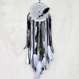 ~TRPĚLIVOST~ Jedinečný ručně vyráběný lapač snů s pírky a achátem, 18x73 cm