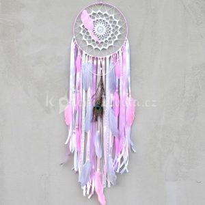 ~POROZUMĚNÍ~ Jedinečný ručně vyráběný lapač snů s pírky a angelitem, 25x95 cm