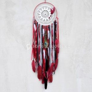 ~ROVNOVÁHA~ Jedinečný ručně vyráběný lapač snů s pírky a onyxem, 25x95 cm