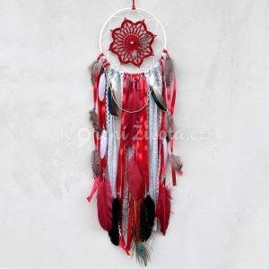 ~ROVNOVÁHA~ Jedinečný ručně vyráběný lapač snů s pírky a jaspisem, 18x72 cm