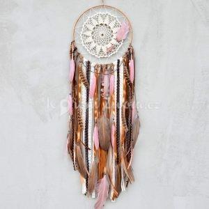 ~TÓNY~ Jedinečný ručně vyráběný lapač snů s pírky a jaspisem, 25x85 cm