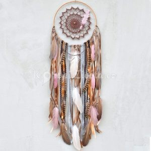 ~TÓNY~ Jedinečný ručně vyráběný lapač snů s pírky a jaspisem, 25x90 cm