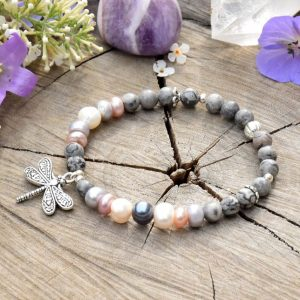 ~NĚHA~ Elegantní perlový náramek s jaspisem a pravými perlami, vážka