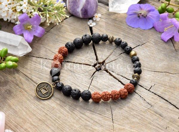 ~(ZE)MĚ~ Pánský náramek z lávového kamene a rudrakshi, čínská mince
