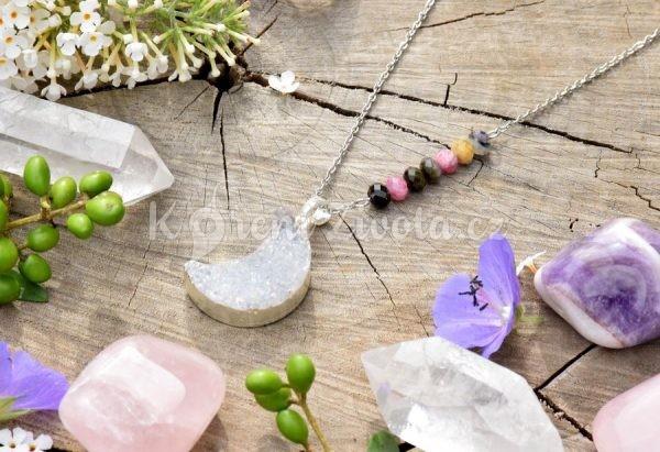 ~LÁSKA~ Jedinečný náhrdelník s drúzou achátu Měsíc, melounový turmalín