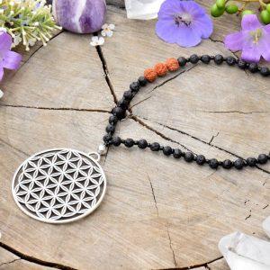 ~(ZE)MĚ~ Dlouhý náhrdelník s talismanem květ života, láva a rudraksha