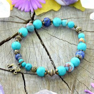 ~INSPIRACE~ Minerální náramek z tyrkysu a lapisu lazuli, přívěsek slon