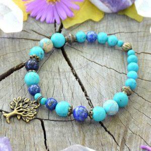~INSPIRACE~ Minerální náramek z tyrkysu a lapisu lazuli, přívěsek strom života